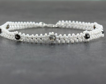 Seed Bead Anklet - Bead Ankle Bracelet - Beadwork Jewelry - Crystal Anklet - White Anklet - Summer Anklet - Chain Anklet - White and Black