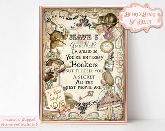 Alice in Wonderland Wall Art, Bonkers Wall Art, Nursery Print, Nursery Decor, Bonkers Quote, Wonderland Quote, Mad Hatter, Nursery Wall Art
