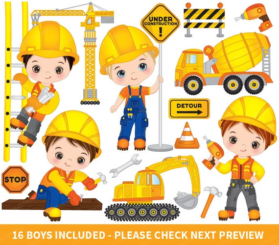 construction boys clipart vector construction clipart boys rh etsy com construction clipart free construction clip art free download