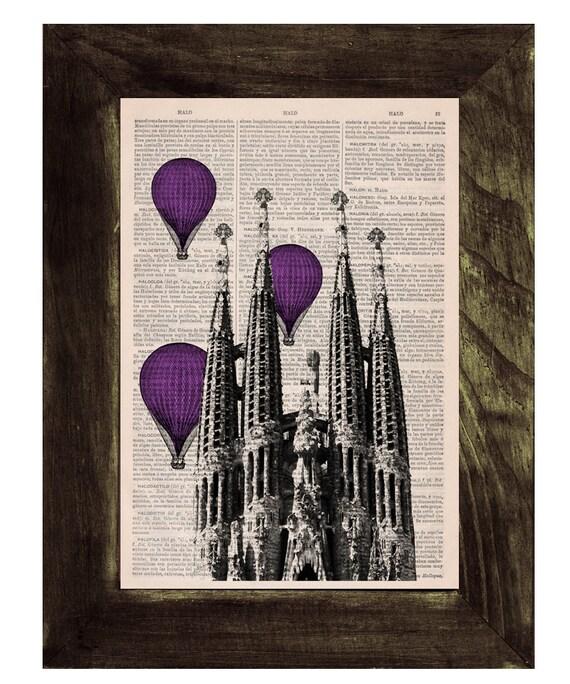 Vintage Book Print - Barcelona Sagrada Familia purple colored Balloons Ride Print on Vintage Book art Gaudi Holy Family BPTV021