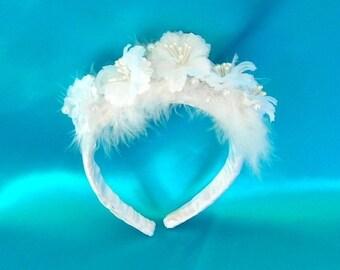 On Sale Flowered, Feathered, and Pearled Bridal Headpiece, Tiara or Headband