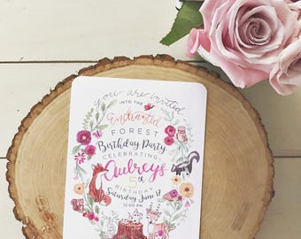 Enchanted Forest Birthday Invitations /// woodland critter friends /// FREE SHIPPING!