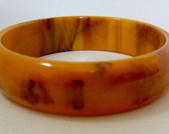 Vintage Bakelite Mississippi Mud Marbled Butterscotch And Chocolate Bangle