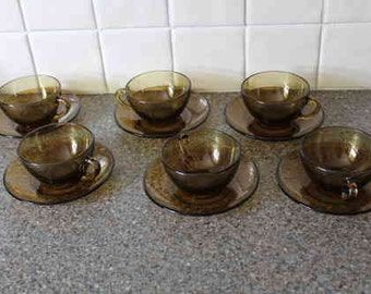 French Arcoroc Tea Cups and Saucers