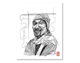 Snoop Dogg / Black and White / Fine Art Print / Giclee / Yokai Illustration / Artist Portrait Series / One Line / Continuous Line
