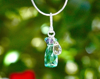 NEW Mint Green Quartz Pyramid Necklace / Sterling Silver / Multi Color Pendant / Grapefruit Pink Teardrop / Purple / Aquamarine Blue / OOAK