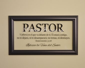 Personalized Pastor Gift Spanish Pastor Gift Pastor Appreciation Minister Gift Religious Wall Art Christian Wall Decor Glass w/4 Line Text