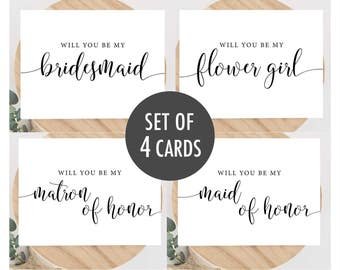 Will You Be My Bridesmaid Card Printable, Bridesmaid Proposal Cards Set, Maid of Honor, Bridesmaid Invite, Instant Download