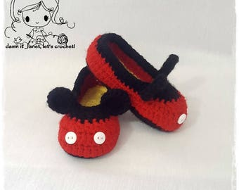 Inspired Mickey Mouse Toddler Slippers (sizes US4-US9) - PDF Crochet Pattern - Instant Download