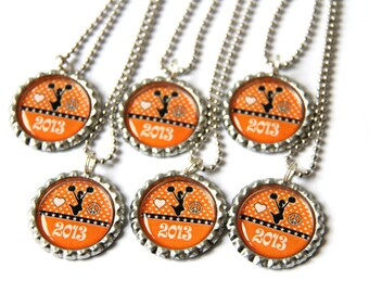 Cheerleading party favors, Cheerleader gifts for kids, Cheerleading gifts, Custom bottle cap necklace, custom color name
