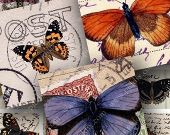 Butterflies on Vintage Postcards Two in .85-inch squares for scrabble tiles and more -- piddix digital collage sheet 413