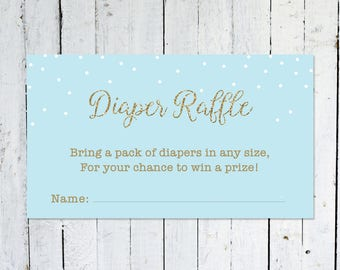 Diaper Raffle Ticket, Baby Shower, Blue And Gold, Diaper Raffle Insert, Confetti, Printable, Instant Download