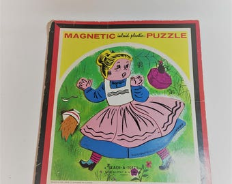 Vintage Playskool Magnetic Puzzle, 13 Piece Puzzle, Little Miss Muffet Puzzle