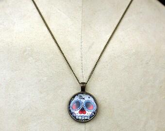 Custom tattoo day of the dead necklace pendant skull roses dagger chest piece tattoos skulls dagger
