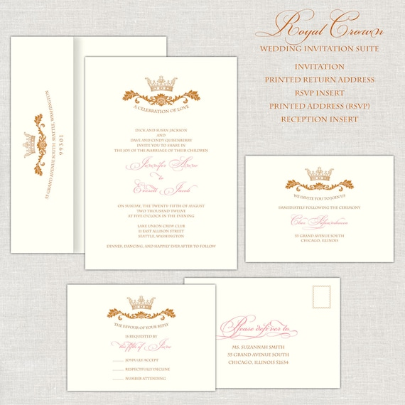 Royal Wedding Invitations Gold & Pink Wedding Invitation