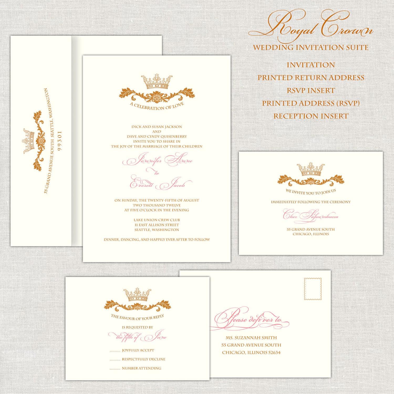 Royal wedding invitations gold pink wedding invitation zoom monicamarmolfo Gallery