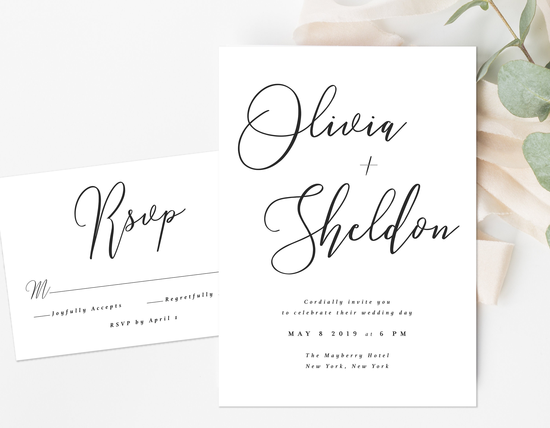 Formal Wedding Invitation Messy Script Wedding Invitation