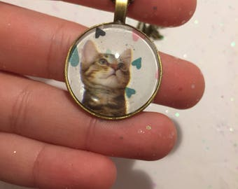 Cute tabby cat 25 mm nickel free antique brass pendant necklace with delicate 27 inch chain
