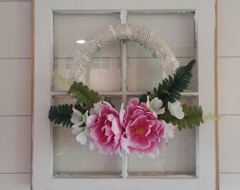 Small faux peony wreath- peony wreath with fern fronds- small artificial wreath - wreath with old book pages- mother's day gift- wedding
