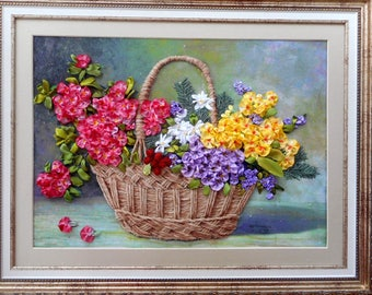 Hand embroidery Embroidery pictures Ribbons embroidery Embroidery flowers Embroidery wall art Embroidered gifts Flower wall art ВШ1К2