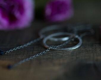 Shoulder Duster Earrings in Sterling silver with Sapphires Pink or Blue Sapphires Long Earrings Hoop Earrings Chain Earrings Gift for her