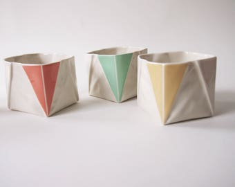 Origami Cup handmade of porcelain, appears like folded paper, tea cup / Coffee Cup in unique Origami design