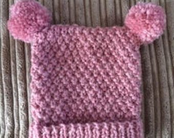 Hand Knitted Baby Tea bag hat (0 - 6 months)