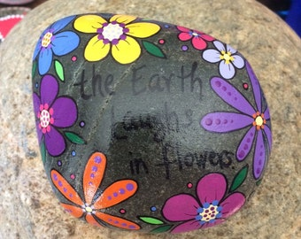Happy Rock - Earth Laughs in Flowers - Hand-Painted Beach River Rock Stone - daisies pansies posies emerson