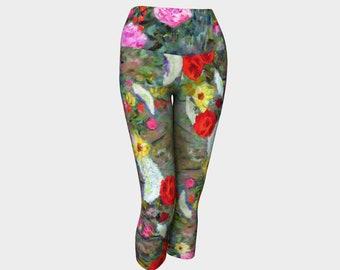 Garden Flowers Leggings Capri Pants Summer Clothes Workout Leggings Floral Printed Leggings Capris Feminine Clothes Colorful Leggings Gift