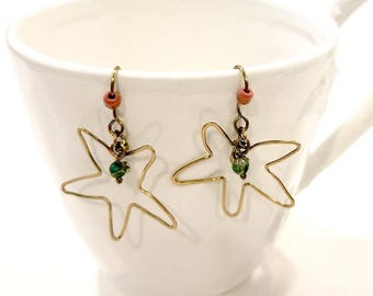Starfish Earrings with Natural Turquoise and Red Glass Beads #1217