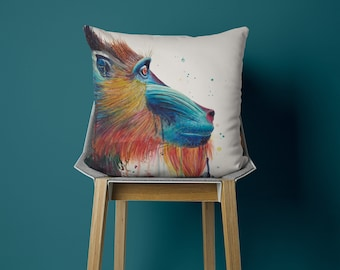 Pillow with Mandrill, watercolor motif, hand sewn, 50 x 50 cm, with customizable back, perfect as a gift
