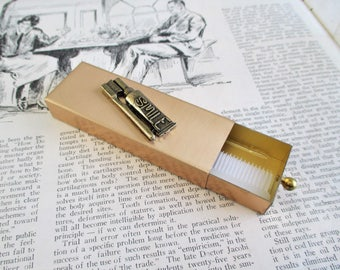 Vintage Gold Tone Travel Mini Toothbrush and Toothpaste Holder