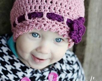 "Toddler Crochet  HaT Pattern:  ""Strawberry Fields Forever"" Crochet Cloche, Crochet Beanie, Crochet Flower"