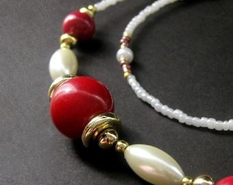 Raspberries and Cream ID Lanyard. Red Eyeglass Necklace. Ivory Beaded Lanyard. Gold Glasses Lanyard. Handmade Lanyard. Teacher Lanyard.