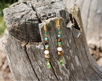 Long green, blue and brown women's earrings with turquoise, hematite and cat's eye - gift,detail,boho,jewel,jewelry,crystal,tassel