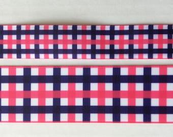 "Super Preppy Plaid pink navy white grosgrain ribbon 7/8"" 1.5"""