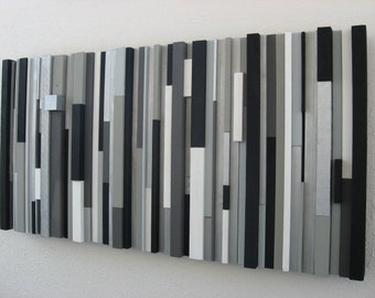 Wood Art, Black and White Abstract Wall Art