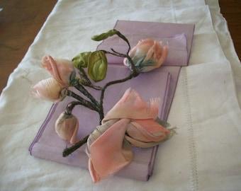Authentic ribbon work wedding silk ribbon antique pink metal mesh
