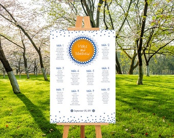 Tableau mariage, printable, invited wedding, Yoga, line assignment tables, Orange and blue. Downloadable custom wedding seating chart