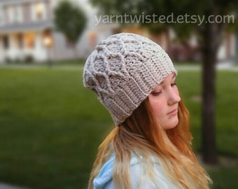 CROCHET PATTERN ,   Boho Slouchy Beanie Pattern,  Teen Girls,  Winter, Can Sell Items Made From Pattern, instant download, yarntwisted