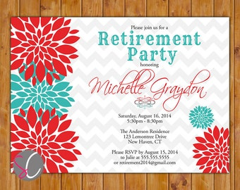 Retirement Party Invite Celebration Red Teal Floral Burst  Invitation 5x7 Digital JPG DIY Printable (288)