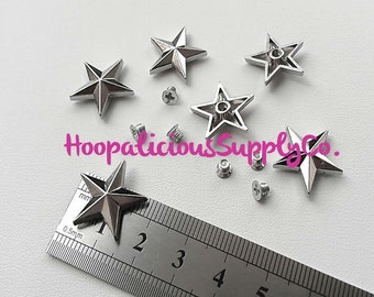 18mm SILVER, GOLD, or BRASS Metal Star Screw Back Studs- 6 Tops & 6 Screw Backs- 12 pc Total. You Choose Color at Checkout.