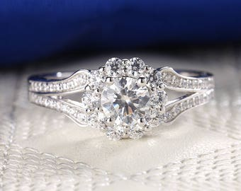 Moissanite engagement ring Vintage engagement ring Antique Unique Halo diamond Anniversary gift for her Half eternity Bridal set Jewelry