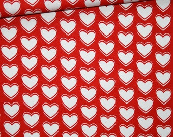 White hearts on a red background, 100% cotton fabric printed 50 x 160 cm, Valentine's day, love