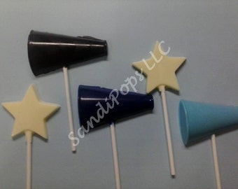 24 Cheer, football, basketball, sport, Megaphone and star Chocolate Lollipops