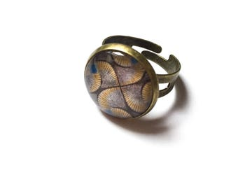 Adjustable cabochon ring * African * bronze adjustable cabochon ring, bronze ring glass Adjustable ring, cabochon, cabochon ring