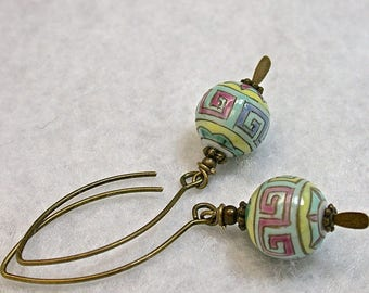 Vintage Chinese Handmade Porcelain Bead Earrings Dangle Drop, Turquoise,Pink,Yellow,Handmade Antiqued Brass Kidney Ear Wire