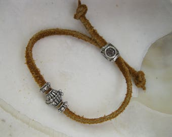 Girls Leather Cord and Silver Bead Bracelet ~ Casual Wear ~ 5 to 5 1/4 Inch Wrist Size