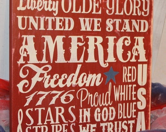 4th of July Subway Style Sign/Americana Sign/Holiday Decor/Red/White/Blue/July Decor/Wood Sign/America/Freedom/In God we Trust