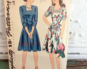 1940s Simplicity Dress One Piece Daytime Sewing Pattern XL Bust 40/Hips 43